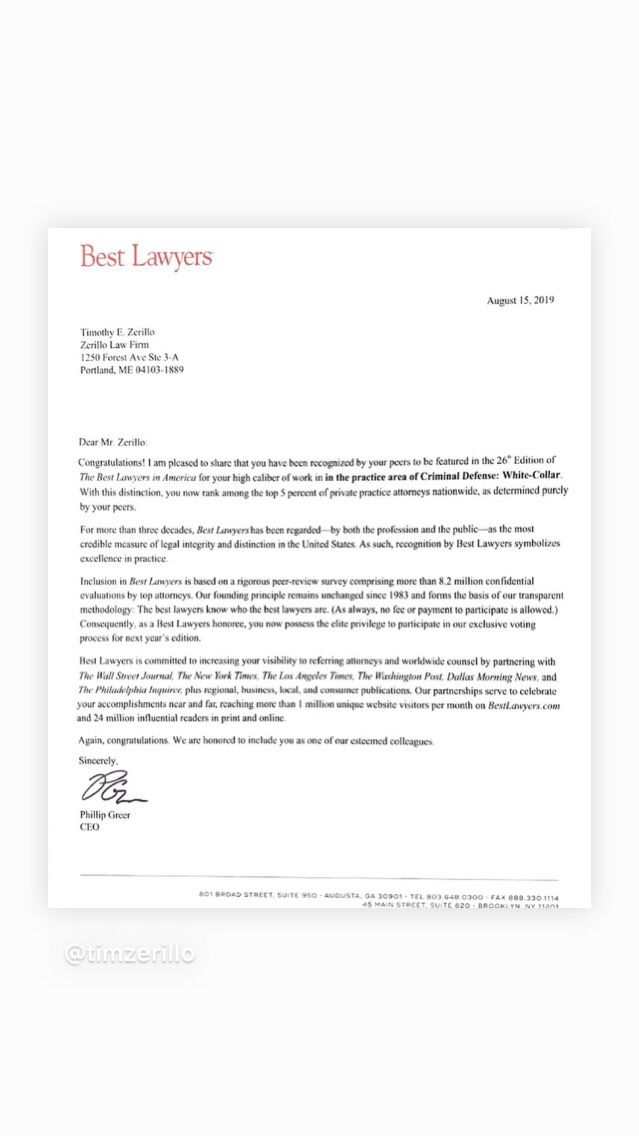 Best Lawyers of America Letter